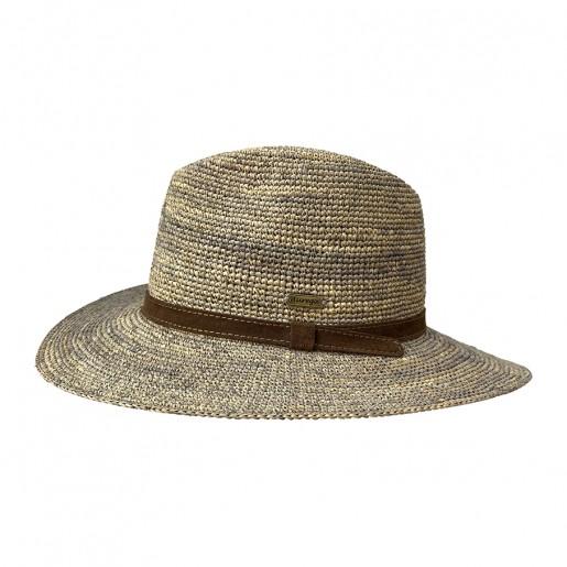Chapeau été en raphia traveller. Bleu jeans