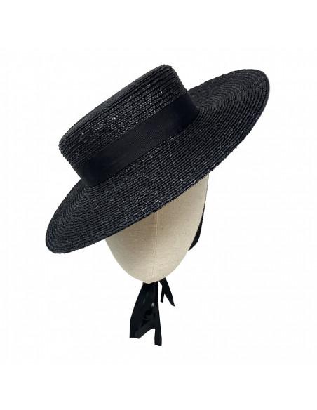 Chapeau canotier femme été Zoé  PCNQ noir porté