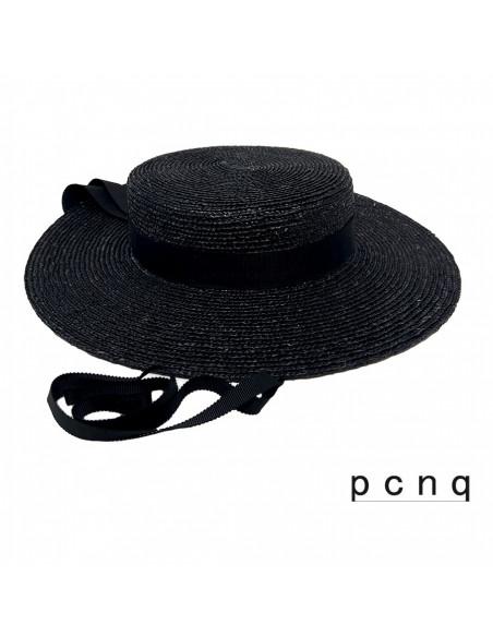 Chapeau canotier femme été Zoé  PCNQ noir profile 3
