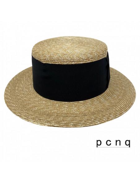 Chapeau canotier luxe Cerena P CNQ naturel face