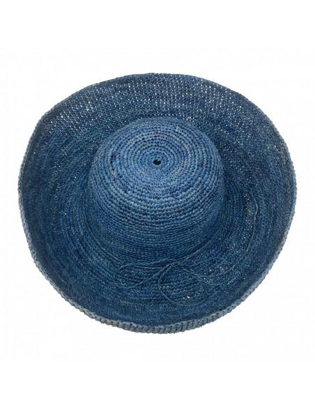 E107 Chapeau Femme raphia crochez Rabarany bleu haut