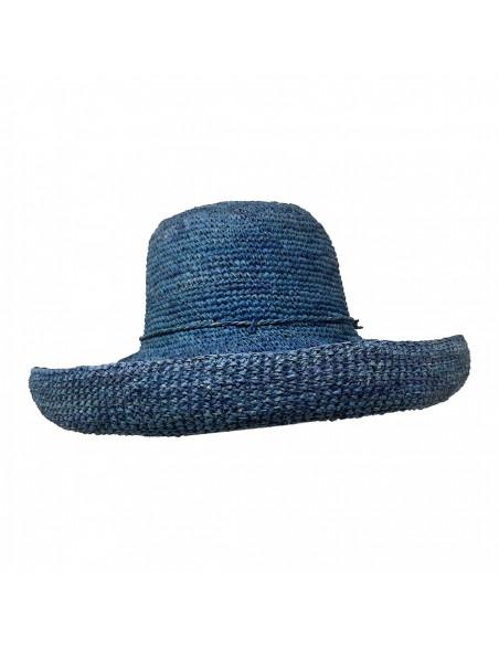 E107 Chapeau Femme raphia crochez Rabarany bleu profile 2