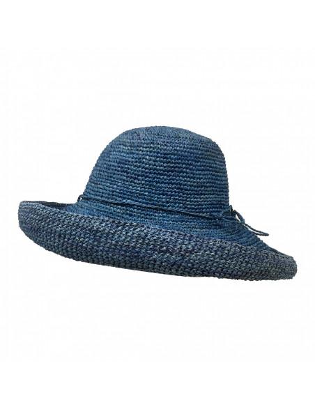 E107 Chapeau Femme raphia crochez Rabarany bleu profile
