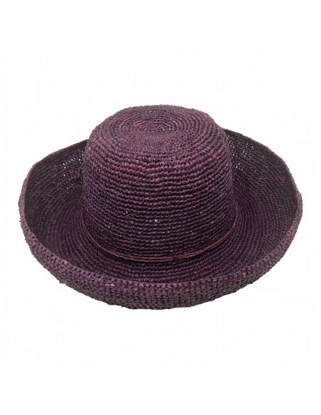 E107 Chapeau Femme raphia crochez Rabarany Bordeau