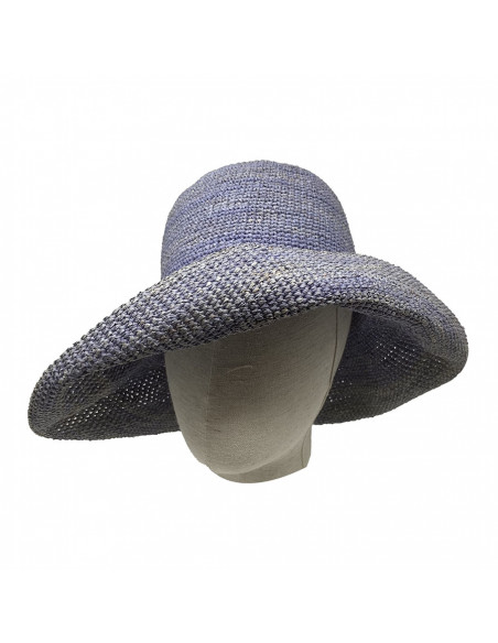 E107 Chapeau Femme raphia crochez Rabarany jans porté