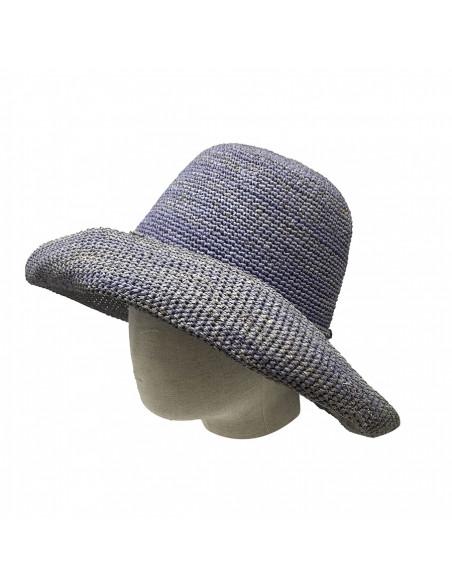 E107 Chapeau Femme raphia crochez Rabarany jans porté 2