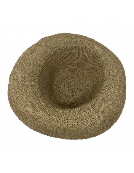 E107 Chapeau Femme raphia crochez Rabarany LIN intérieur