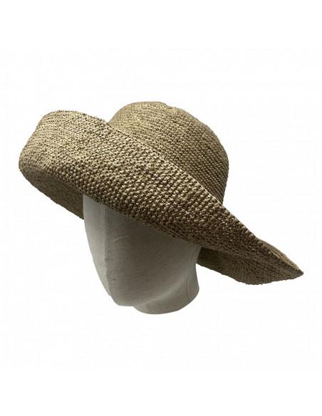 E107 Chapeau Femme raphia crochez Rabarany LIN porté