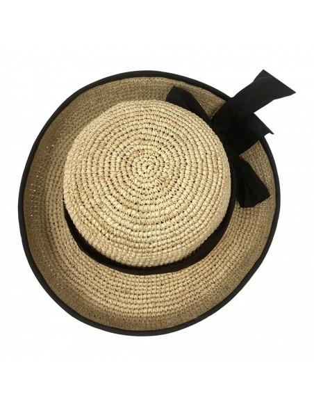 Chapeau cloche raphia crochet foulard Rabarany naturel haut