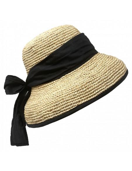 Chapeau cloche raphia crochet foulard Rabarany naturel pro 2