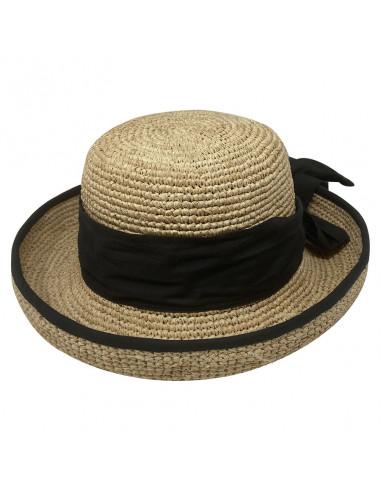 Chapeau cloche raphia crochet foulard Rabarany naturel pro
