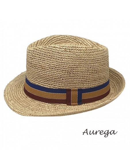 Chapeau Trilby Raphia crochet Auréga profil 1