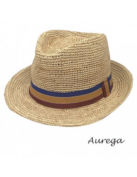 Chapeau Trilby Raphia crochet Auréga profil 3
