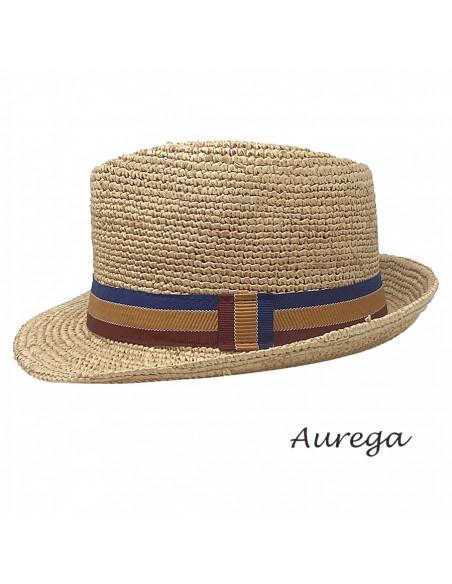 Chapeau Trilby Raphia crochet Auréga profil 2