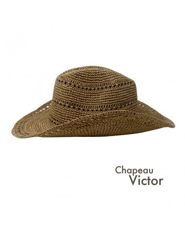 I012 chapeau raphia crochet cowboy beige profil