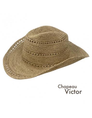 I012 chapeau raphia crochet cowboy naturel pro1