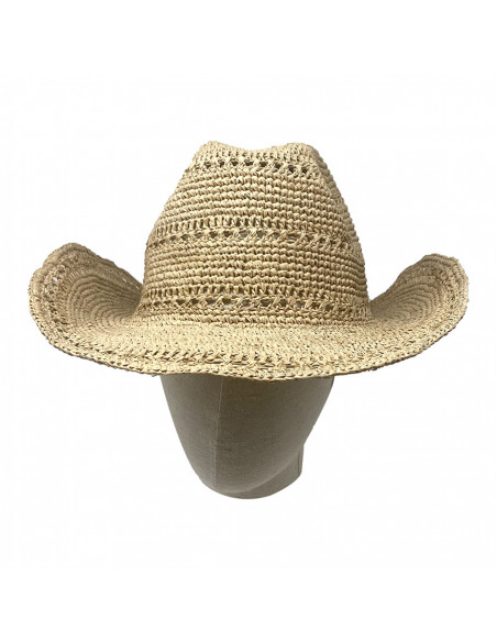 I012 chapeau raphia crochet cowboy naturel face