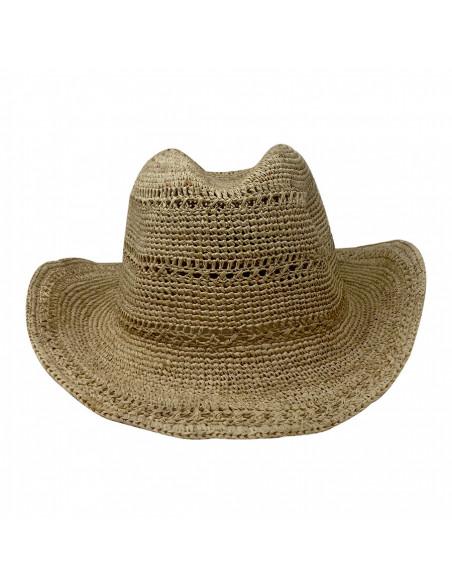 I012 chapeau raphia crochet cowboy beige face