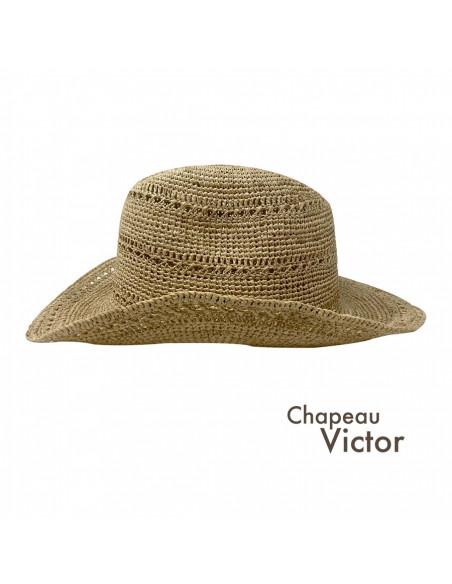 I012 chapeau raphia crochet cowboy naturel profil