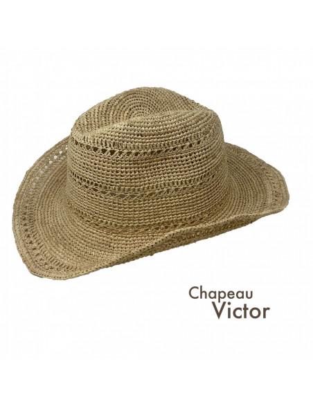 I012 chapeau raphia crochet cowboy naturel profile 2