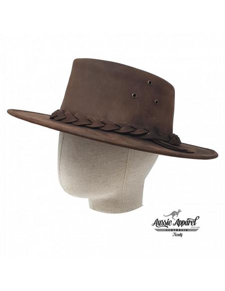 Chapeau Cuir BRUMBY - Aussie Apparel porté profile