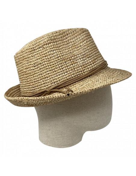 Chapeau Trilby Raphia Crochet Relax - Y400 porté