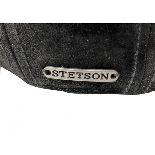 Casquette Yvi Noir Stetson cuir pigskin logo