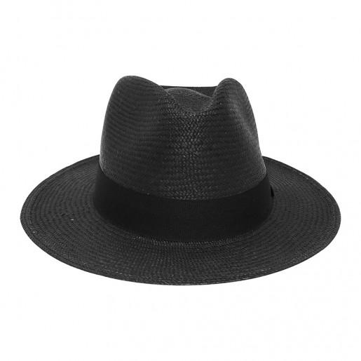 Chapeau Panama Traveller Melvin Noir face