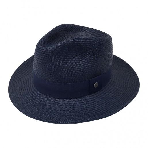 Chapeau véritable panama bleu marine Melvin Profile 2