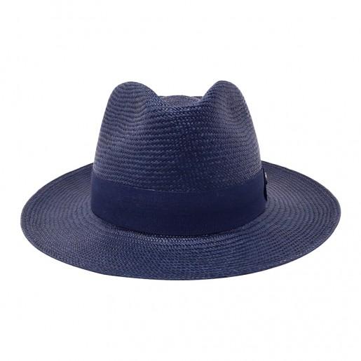 Chapeau véritable panama bleu marine Melvin Victor face
