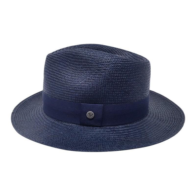 Chapeau véritable panama bleu marine Melvin Victor profile