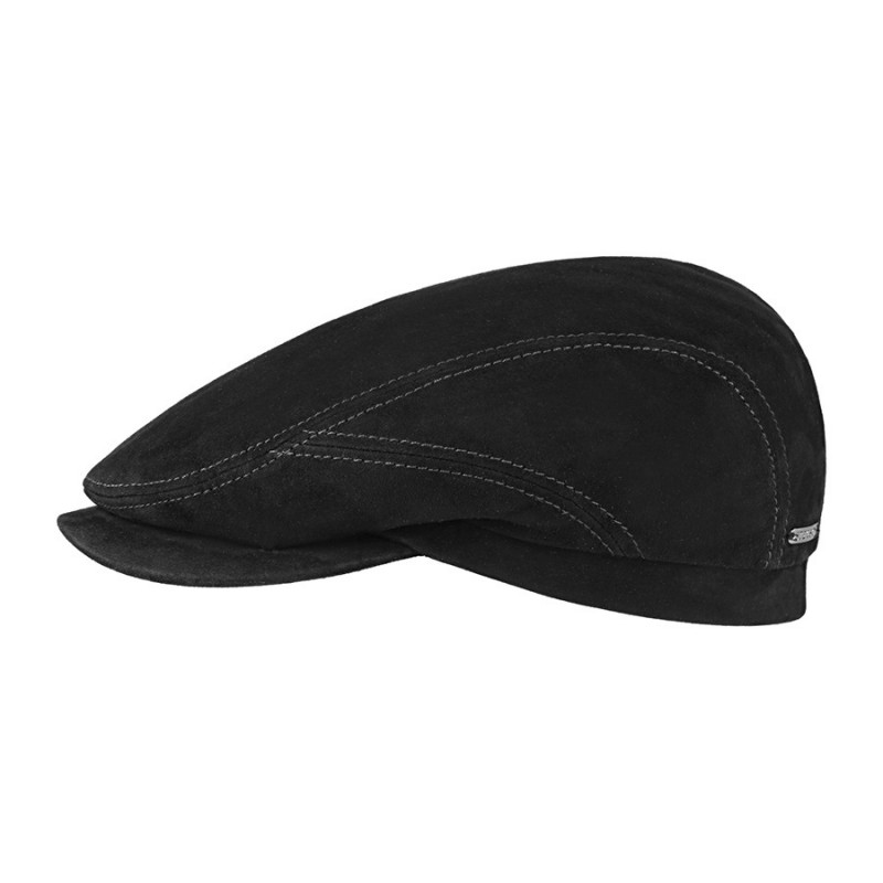 casquette stetson cuir suede noir