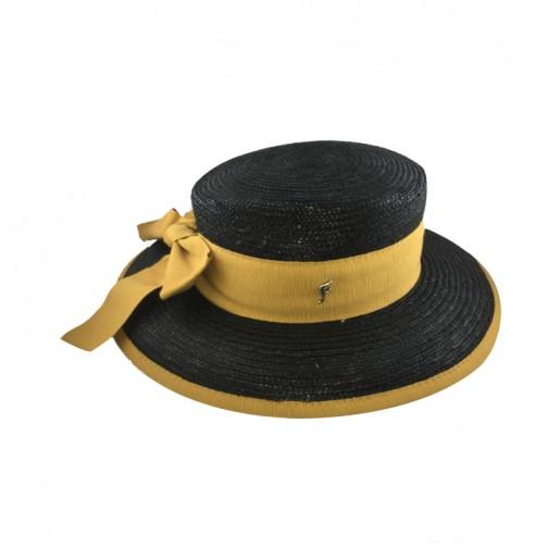 Chapeau couleur canotier paille noir