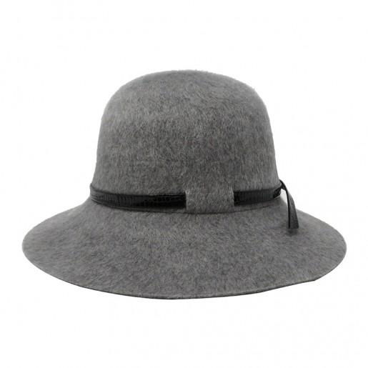 chapeau femme hiver capeline gris