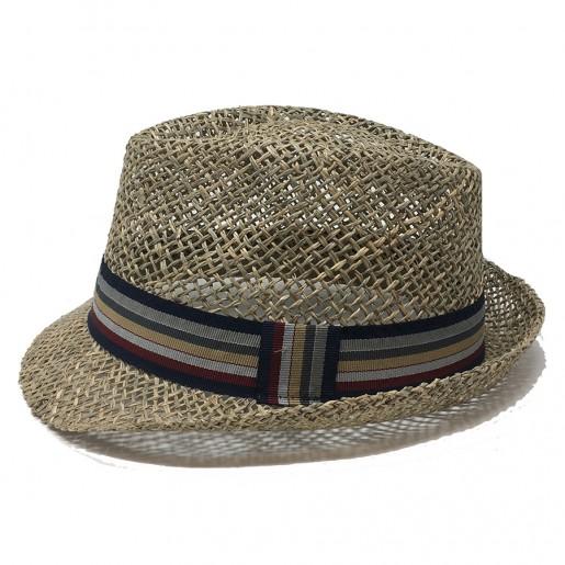 Chapeau bord court trilby paille naturelle
